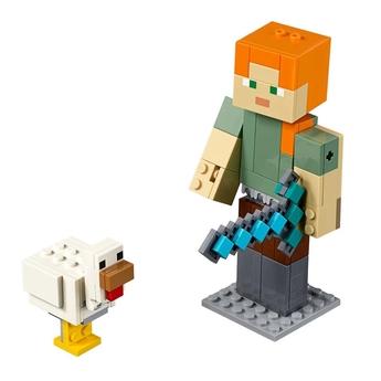 LEGO Minecraft Alex BigFig с пиле, Alex BigFig with Chicken, 21149